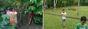 [Pos 4]. Anak-anak berpencar mencari harta karun. Dari menjangkau ranting-ranting pohon hingga kebablasan mencari di area kebun yang tak termuat dalam denah.